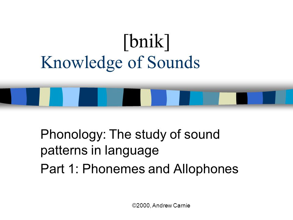 [bnik] Knowledge of Sounds